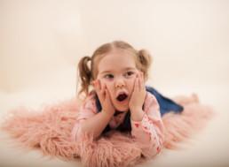 Toddler in studio photo shoot in Pasadena, California for valentine day photo session